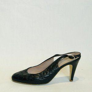 Chanel Black Camellia Embossed Slingback Sz 39½